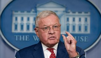 "Vice President Mike Pence's National Security Adviser Keith Kellogg speaks during a press briefing in the James Brady Press Briefing Room at the White House in Washington, Tuesday, Sept. 22, 2020. McEnany said ""I fired her"" referring to Pence's former homeland security advisor Olivia Troye, who has recently criticized President Donald Trump's handling of the pandemic. (AP Photo/Andrew Harnik)"
