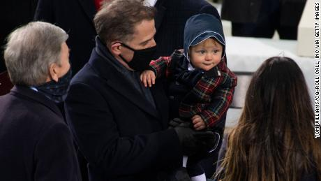 Hunter Biden and his son Beau, are seen at the inauguration before Hunter's father Joe Biden was sworn in as the 46th President of the United States on the West Front of the U.S. Capitol on Wednesday, January 20, 2021. Photo By Tom Williams/CQ-Roll Call, Inc via Getty Images