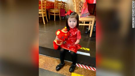 Four-year-old Grace Welch celebrates Chinese New Year with her adoptive family in New Jersey.