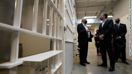 Northam tours Greensville Correctional Center, home of the state's death chamber, on March 24, 2021.