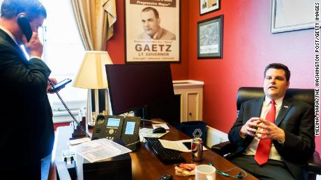 Then-freshman Congressman Matt Gaetz works with staff in office on Capitol Hill in Washington, DC on Wednesday February 14, 2018.