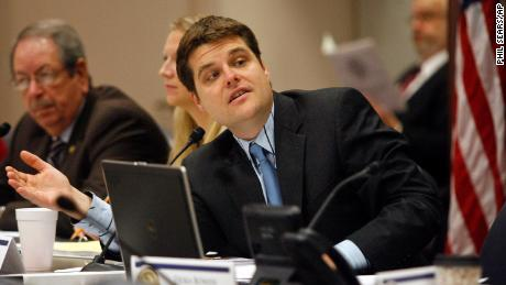 In this March 2014 file photo, then-Fort Walton Beach Rep. Matt Gaetz, answers a question during discussion of House Bill 843 - Cannabis at a Criminal Justice Subcommittee meeting in Tallahassee, Florida.