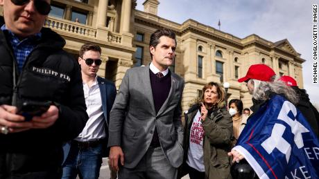 Gaetz leaves the Wyoming State Capitol after speaking to a crowd during a rally against Rep. Liz Cheney (R-WY) on January 28, 2021 in Cheyenne, Wyoming. Gaetz added his voice to a growing effort to vote Cheney out of office after she voted in favor of impeaching Donald Trump.