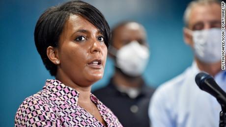 Atlanta Mayor Keisha Lance Bottoms addresses the media during a press conference at Atlanta Police Headquarters last year.