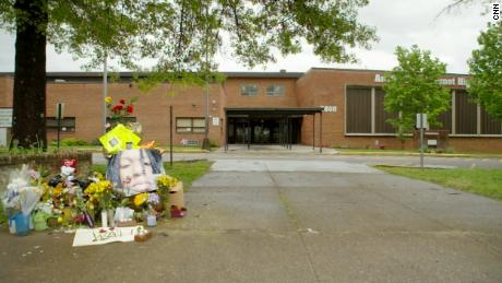 A memorial for Anthony Thompson Jr. outside the school where he was fatally shot by police.