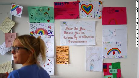 Thank-you notes and rainbow pictures cover the walls at the Royal Blackburn Teaching Hospital in England.