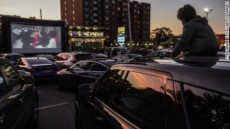 Many businesses created drive-in movies, like this one at the Bel Aire diner in Queens on May 20, 2020.