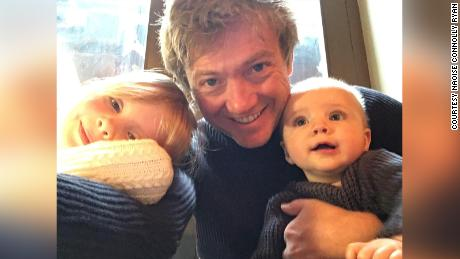 Mick Ryan with his two children, Saorlaith and Macdara, in 2019.