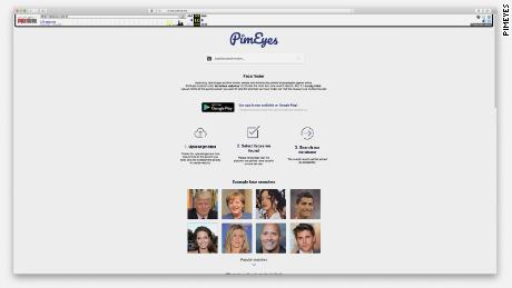 This screengrab of an archived version of PimEyes.com, from October 2018, shows how users were able to upload a photo of whomever they wanted to look for (the website now instructs visitors to only search for their own face), and shows pictures of celebrities such as Angelina Jolie, Rihanna, and Donald Trump as examples.