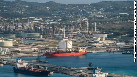 The Limetree Bay refinery is seen from above in St. Croix, Virgin Islands, Thursday, March 18, 2021.