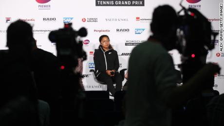 Naomi Osaka attends a press conference during the Porsche Tennis Grand Prix at Porsche-Arena in 2019.