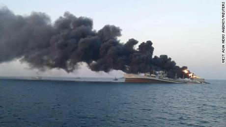 One of Iran's biggest navy ships sinks after catching fire