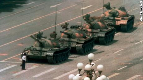 A man stands alone to block a line of tanks in Beijing in the iconic 1989 Tiananmen Square image.