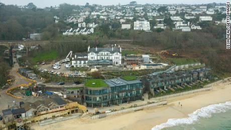 The Carbis Bay Estate hotel and beach, set to be the main venue for the G7 summit, is seen from a drone in March.