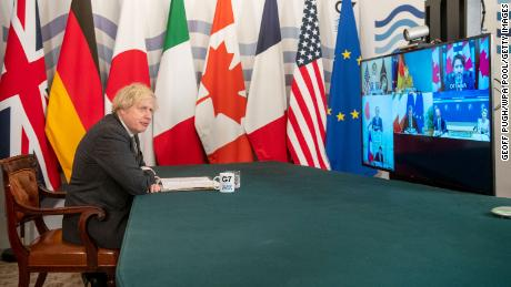 Boris Johnson hosts a virtual meeting of G7 leaders in February.