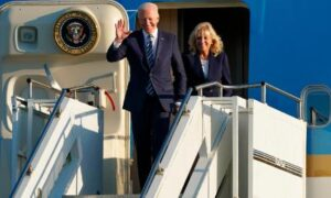 US President Joe Biden and First Lady Jill Biden arrive on Air Force One at RAF Mildenhall in Suffolk, ahead of the G7 summit in Cornwall | USA News Agency in MI