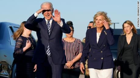 President Joe Biden and first lady Jill Biden walk to a motorcade vehicle after stepping off Air Force One at RAF Mildenhall in Suffolk, England, Wednesday, June 9, 2021.  | USA News Agency in MI