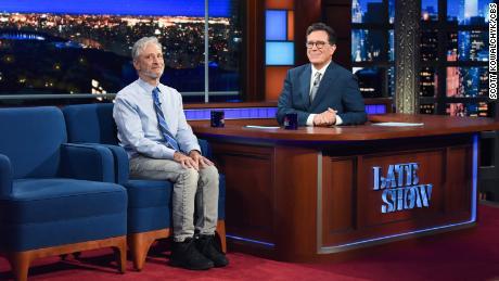 Jon Stewart was a guest on Monday. Photo: Scott Kowalchyk/CBS ©2021 CBS Broadcasting Inc. All Rights Reserved.