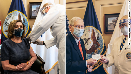 House speaker Nancy Pelosi, at left, and then-Senate Majority Leader Mitch McConnell were vaccinated with their first dose in December.