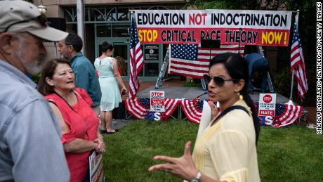 Protesters against critical race theory being taught in Loudoun County schools gather in Leesburg, Virginia, on June 12, 2021.