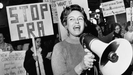 Phyllis Schlafly leads members opposed to the equal rights amendment in protest in this undated photo.
