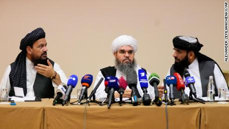 Mohammad Naim, Mawlawi Shahabudding Delawar and Suhil Shaheen, members of a political delegation from the Taliban, attend a news conference in Moscow, Russia, onJuly 9, 2021.
