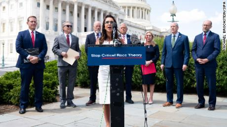 US Rep. Lauren Boebert speaks at a press conference about banning federal funding for the teaching of critical race theory on May 12, 2021, in Washington.
