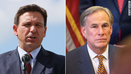 Florida Gov. Ron DeSantis (left) and Texas Gov. Greg Abbott.