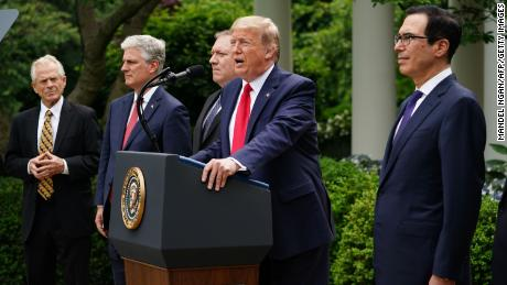 Donald Trump holds a news conference on China in the Rose Garden of the White House on May 29, 2020.