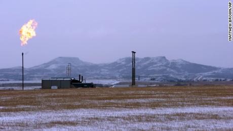 Flaring at a natural gas processing facility in North Dakota.