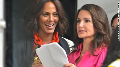 """Nicole Ari Parker and Kristin Davis are seen on the set of the Sex and the City reboot -- """"And Just Like That""""--  recently in New York City."""