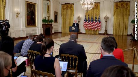 U.S. President Joe Biden delivers remarks on the worsening crisis in Afghanistan from the East Room of the White House August 16, 2021 in Washington, DC.