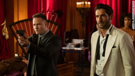 Scott Porter and Tom Ellis in 'Lucifer,' which begins its final season on Netflix.