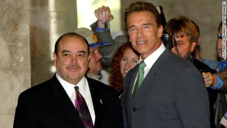 Schwarzenegger, right, then governor-elect, stops for a photo with Lt. Gov. Cruz Bustamante before a meeting at the State Capitol in 2003.