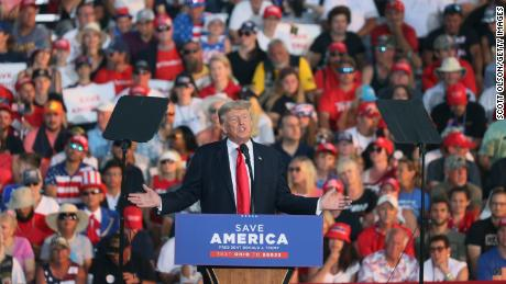 Former President Donald Trump speaks to supporters during a June rally in Ohio, campaigning for a former aide who's running against one of the House Republicans who voted to impeach him earlier this year.