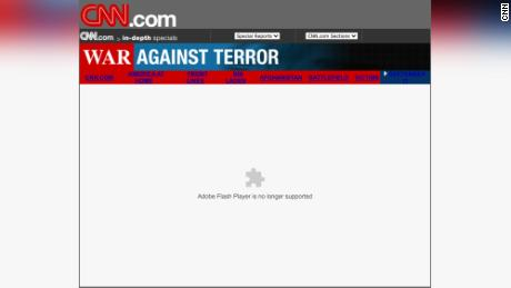 An interactive CNN feature on the fallout from 9/11 is broken following the end of Flash.