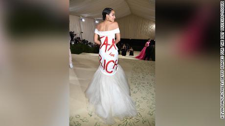 Alexandria Ocasio-Cortez attends The 2021 Met Gala Celebrating In America: A Lexicon Of Fashion.