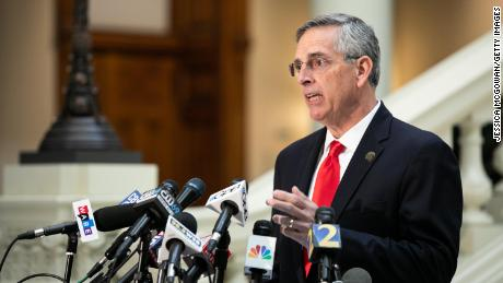 Georgia Secretary of State Ben Raffensperger holds a press conference on the status of ballot counting on November 6, 2020 in Atlanta, Georgia.