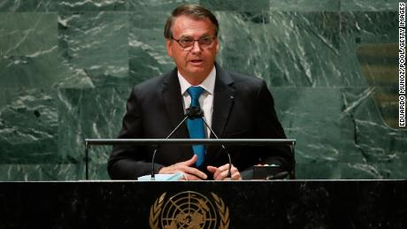 Brazil's President Jair Bolsonaro, a climate change skeptic, addresses the UNGA on Tuesday.