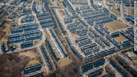 Aerial view of suburban area of Baltimore County, Maryland