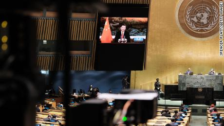 Chinese President Xi Jinping speaks via video link. He made a major new climate commitment in his speech.