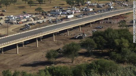 Aerial view of the Ciudad Acuna-Del Rio International Bridge over the Rio Grande on September 24, 2021 -- after the migrants' encampment had been cleared.