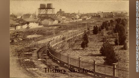 A park near San Jose's Chinatown in 1887.